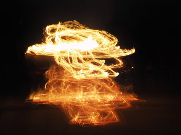 An abstract picture of fire brushes on a black background using light painting technique
