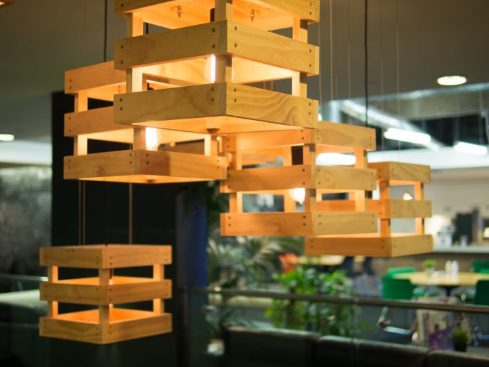 Stone & Chalk space lights made with wooden crates